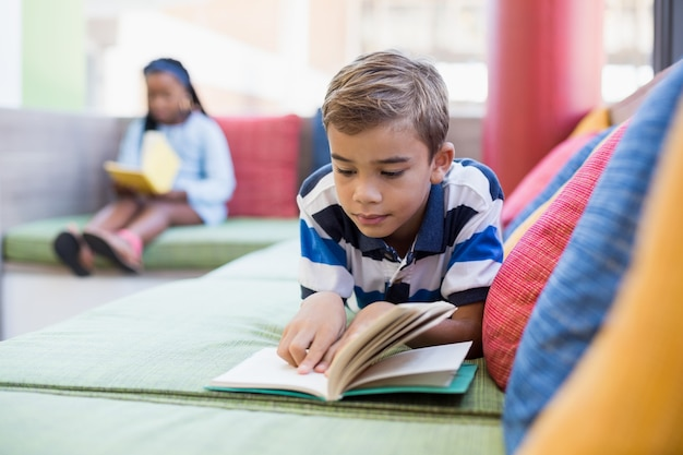 Schoolboy lying on sofa and reading book