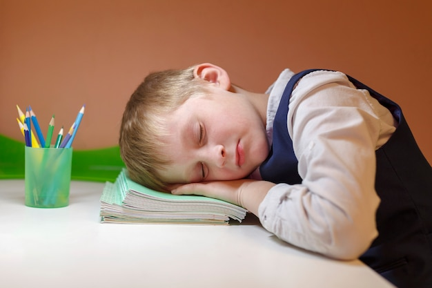 Schoolboy sleeping on the table with books