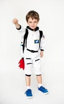 Schoolboy with astronaut uniform dream occupation
