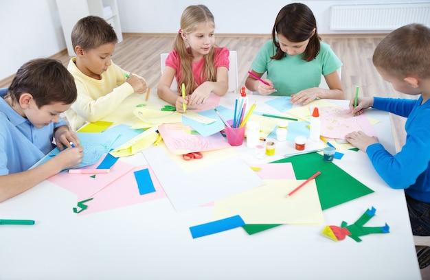 Schoolchildren learning crafts
