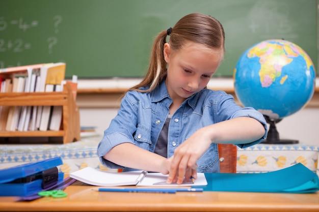 Schoolgirl doing classwork