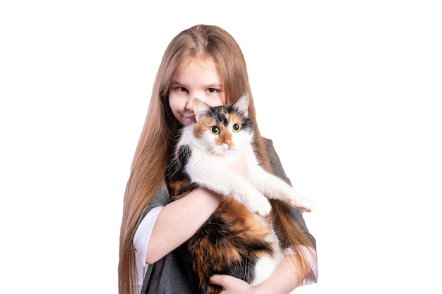 Schoolgirl with a cat. isolated on white background. high quality photo