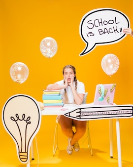 Schoolgirl with speech bubble template