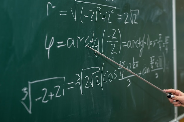 Schooling. mathematical formulas are written on the blackboard