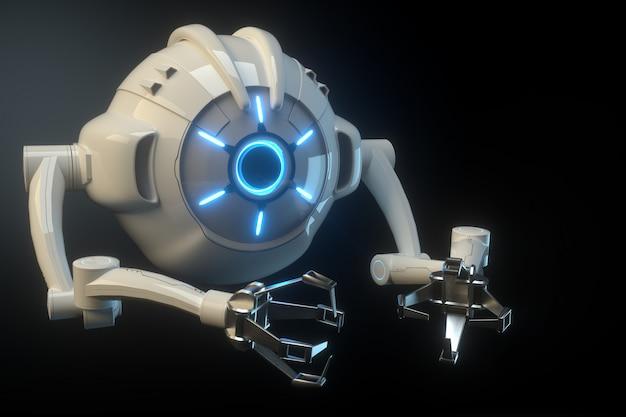 Sci fi空飛ぶドローンカメラと黒い壁に分離された未来の組立機。将来のテクノロジー、人工知能。 3dレンダリング、3dイラストレーション。