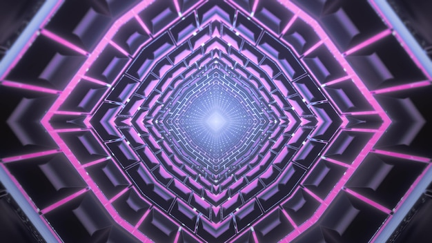 Sci fi 3d illustration abstract visual background of endless corridor of futuristic building with symmetric geometric  and shiny purple neon illumination
