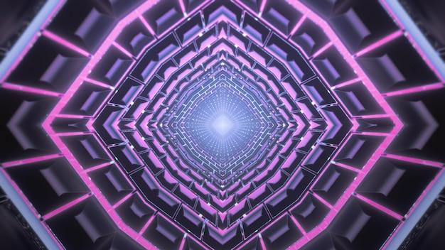 Научно-фантастическая 3d иллюстрация абстрактный визуальный фон бесконечного коридора футуристического здания с симметричным геометрическим и блестящим фиолетовым неоновым освещением