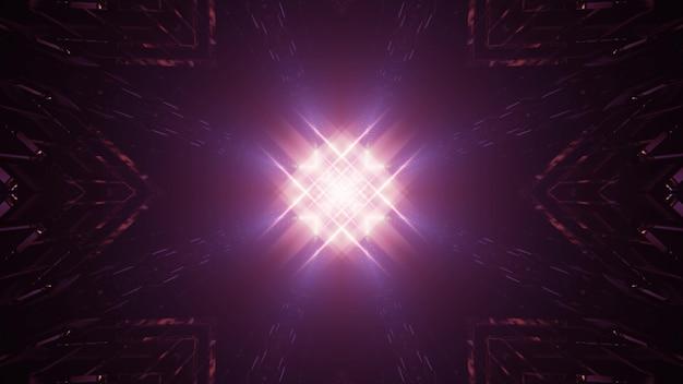 未来的な背景デザインのための暗闇の中で明るい紫のネオンレーザー照明と抽象的なスポットライトのsf3dイラスト
