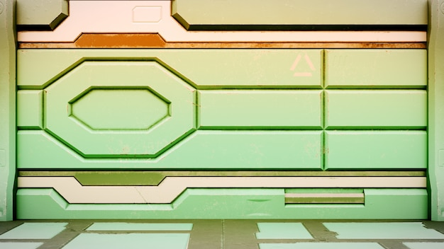 Sci-fi космическая станция коридор интерьер 3d визуализации