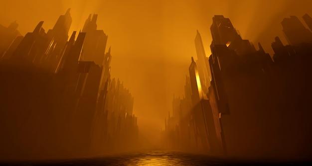 Научно-фантастический заброшенный городской пейзаж