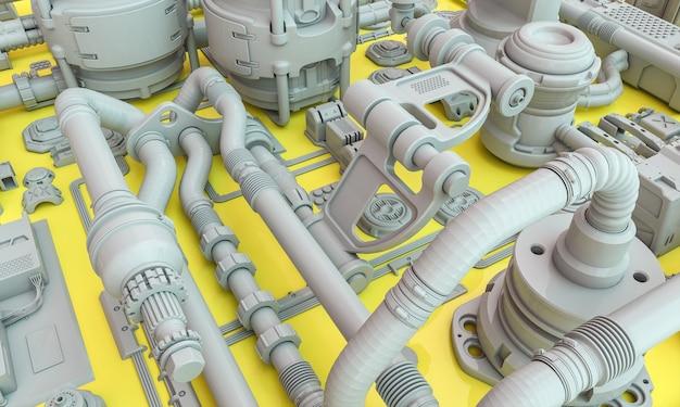 黄色の背景の3dレンダリングのsf抽象パイプとケーブルと産業要素