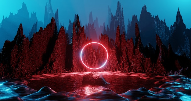 Sci fi alien planet landscape futuristic rock surreal lighting space travel glow ring red neon light 3d rendering