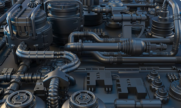 어두운 색조의 케이블, 튜브 및 전자 장비가있는 공상 과학 배경. 3d 렌더링.