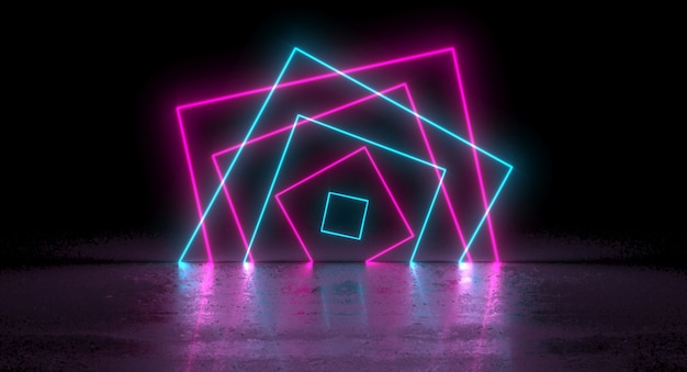 Sci-fi blue pink neon glowing rectangle square on reflection