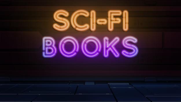 네온 스타일의 공상 과학 책 텍스트
