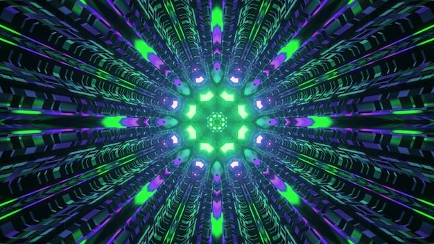 Sci fi circular tunnel with neon illumination 4k uhd 3d illustration