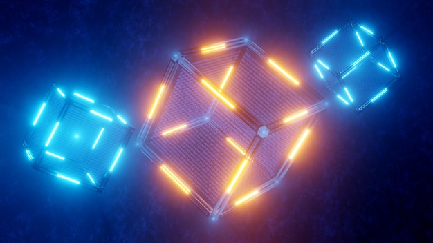 공상 과학. 블록체인 기술의 개념입니다. 데이터와 기술 추상 큐브입니다. 디지털 배경입니다. 3d 렌더링.