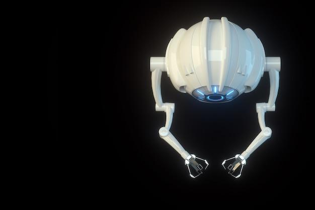 Sci fi фантастический летающий дрон с камерой или футуристическая сборочная машина, изолированные на черной стене. технологии будущего, искусственный интеллект. 3d визуализация, 3d иллюстрации.