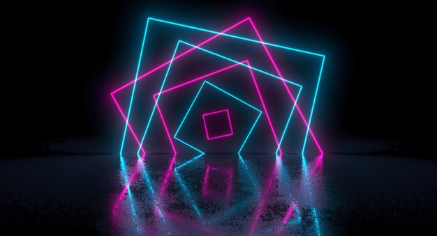 Sci-fi futuristic chaotic abstract gradient blue pink neon glowing rectangle square on reflection