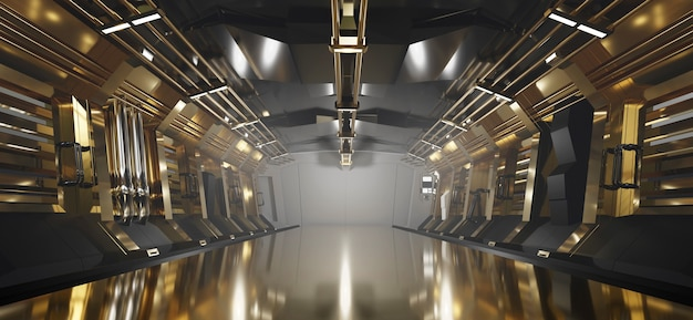 Sci-fi gold metallic corridor background with spot light, 3d rendering.