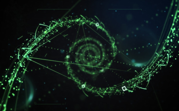 Sci-fi green particle neon light abstract on dark black background