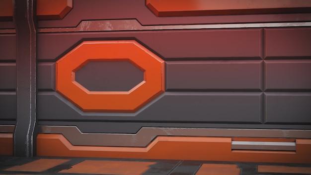 Sci-fi grunge damaged metallic corridor 3d render
