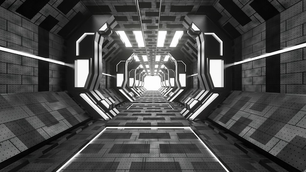 Sci-fi grunge damaged metallic corridor background illuminated with neon lights 3d render - illustration