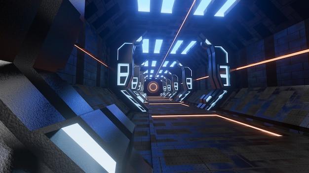 Sci-fi grunge damaged metallic corridor background illuminated with neon lights 3d render - illustration