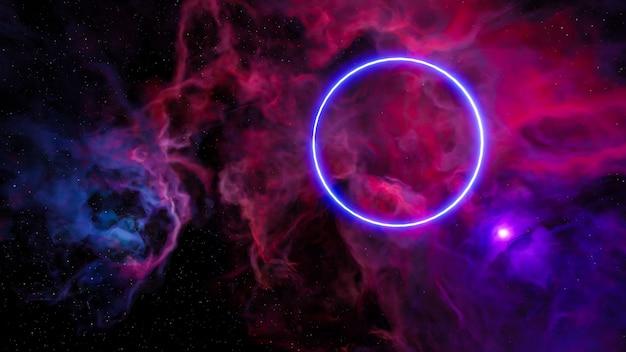 Научно-фантастический пейзаж в стиле киберпанк 3d визуализации, фэнтезийная вселенная и фон облака галактики.