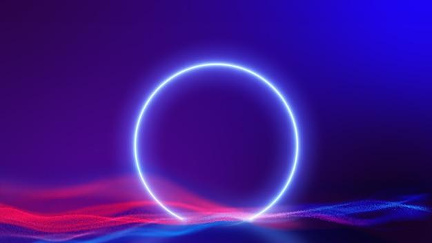 サイエンスフィクション現代の未来的なサークルネオンサークルは、赤青の粒子の背景に青いグローライトを形作りました。3dレンダリング