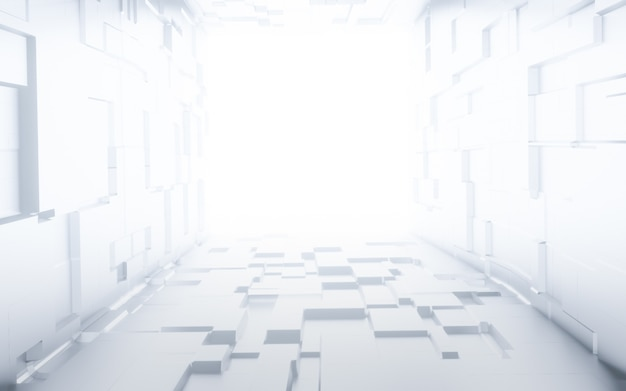 Sci fi modern white abstract empty hall tunnel corridor with light