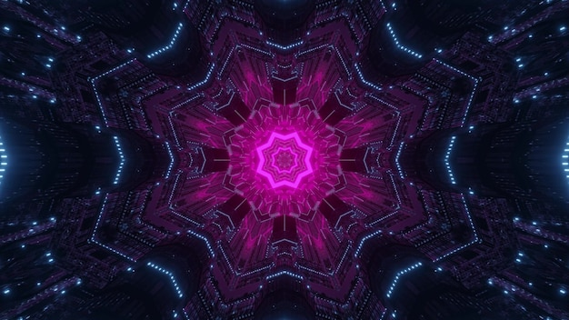 Sci fi pink colored element as 3d illustration