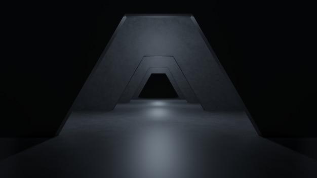 Sci fi roomのモダンなダークコンクリートセメント。