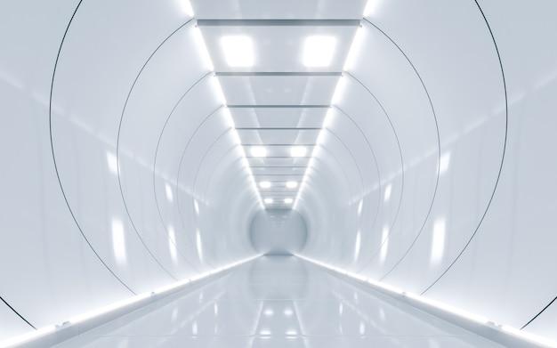 공상 과학 우주선 복도 흰색. 3d 렌더링