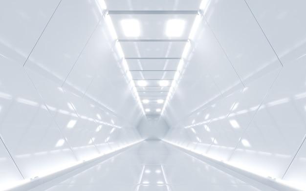 공상 과학 우주선 복도 흰색. 3d 렌더링 프리미엄 사진