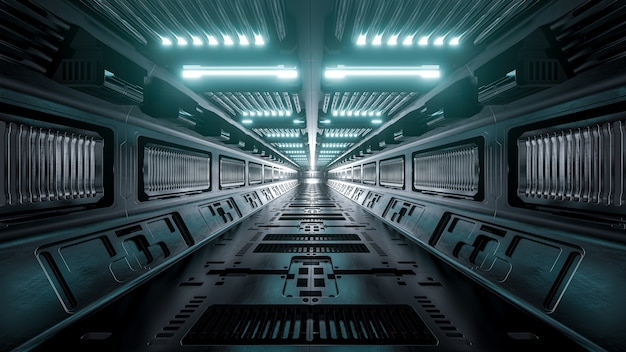 Sci-fi spaceship corridors background, 3d render.