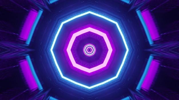 Sci fi spaceship interior with neon lights 4k uhd 3d illustration