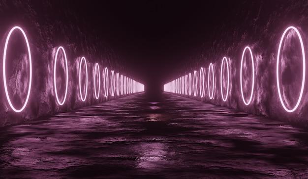 Научно-фантастический технологический туннель фон с розовым круглым неоном.