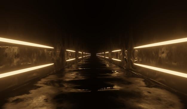 Научно-фантастический технологический туннель фон с желтым неоном.