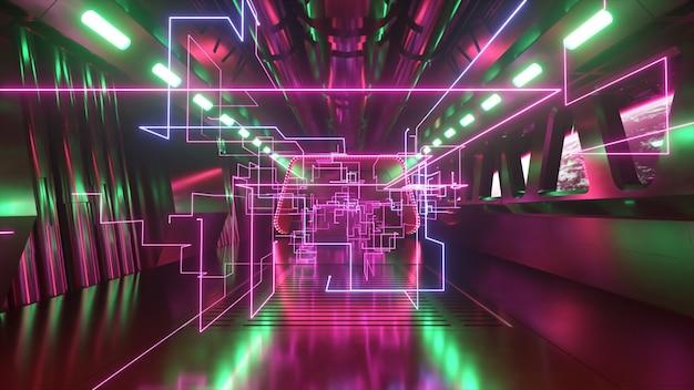 네온 불빛이 있는 우주 공간의 공상 과학 터널. 우주선의 창 밖에 있는 행성 지구. 네트워크 연결 및 데이터 흐름. 우주 기술 개념입니다. 3d 그림