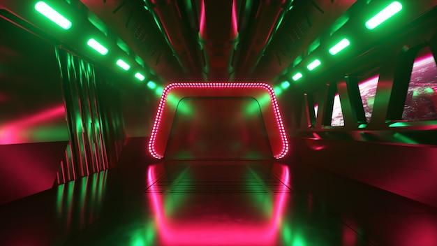 ネオンライトのある宇宙空間のsfトンネル。宇宙船の窓の外の惑星地球。宇宙技術の概念。 3dイラスト