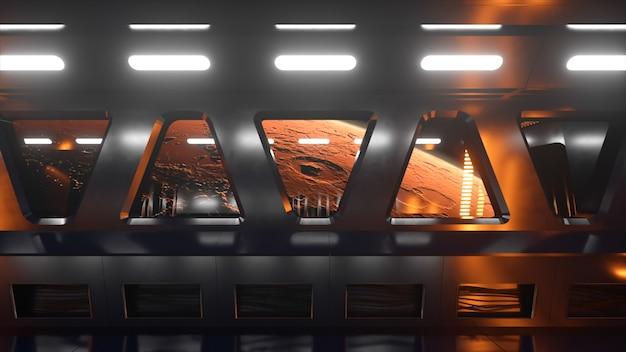 ネオンライトのある宇宙空間のsfトンネル。宇宙船の窓の外にある惑星火星。宇宙技術の概念。 3dイラスト