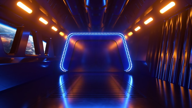 Sci-fi tunnel in outer space with neon light. planet earth outside the window of the spaceship. space technology concept. 3d illustration
