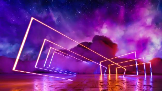 Научно-фантастический пейзаж виртуальной реальности киберпанк 3d визуализации, фэнтезийная вселенная и космический фон облака