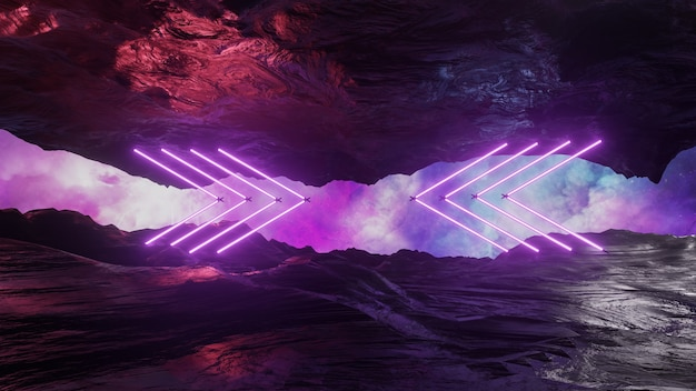 Sfバーチャルリアリティ風景サイバーパンクスタイルの3dレンダリング、ファンタジー宇宙と宇宙雲の背景
