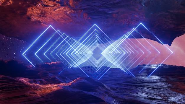 공상 과학 가상 현실 풍경 사이버 펑크 스타일 3d 렌더링, 판타지 우주 및 공간 구름 배경