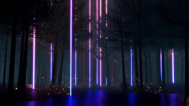 Научно-фантастический пейзаж виртуальной реальности в стиле киберпанк 3d визуализации