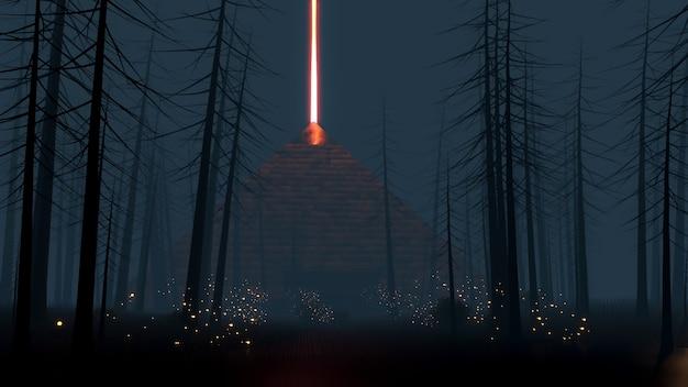Sci fi virtual reality landscape cyberpunk style 3d render