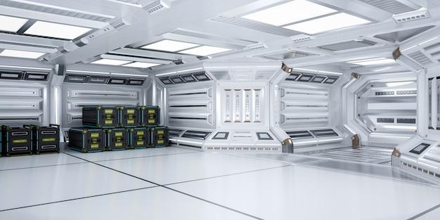 未来的な建築のsci-fiストレージルームインテリア