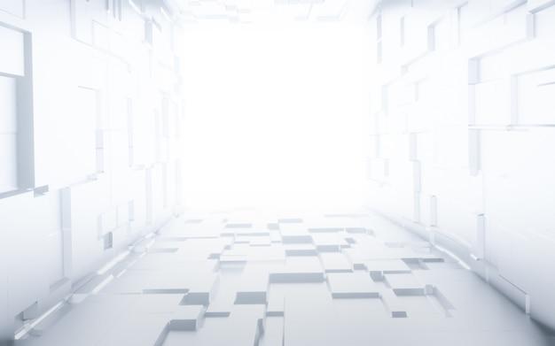 Sci fiモダンな白い抽象的な空ホールトンネル廊下光